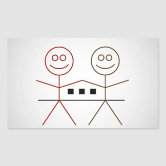Two happy stick figures with house rectangular sticker