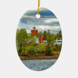 Two Harbors Lighthouse (Summer) Christmas Ornament