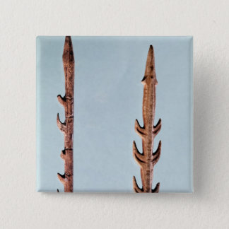 Two Harpoons, Upper Paleolithic Period 15 Cm Square Badge