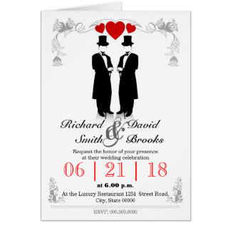 Two hats men in tuxedo with - Most gay wedding Greeting Card