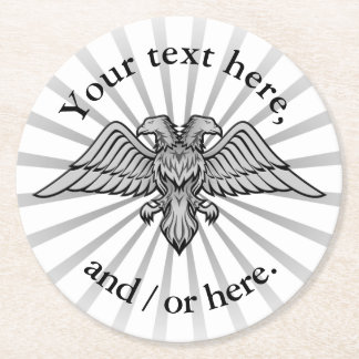Two headed eagle round paper coaster