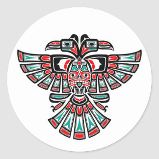 Two Headed Haida Spirit Bird on White Classic Round Sticker