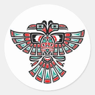 Two Headed Haida Spirit Bird on White Round Sticker