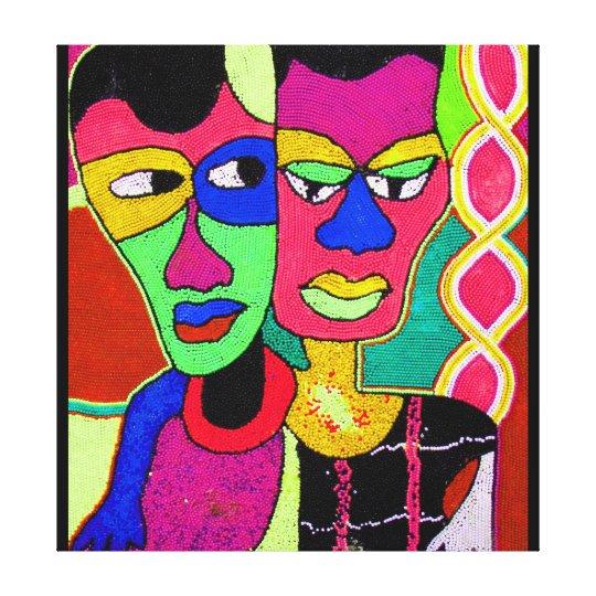 Two Heads Acrylic Oil On Canvas By Moji Okubule