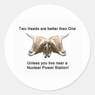 Two Heads Anti-Nuclear Logo Round Sticker