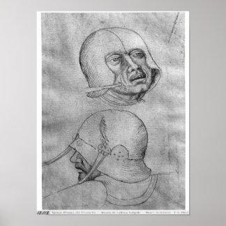 Two heads of soldiers wearing helmets print
