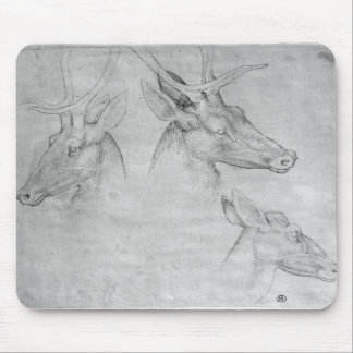 Two heads of stags one head of a doe mouse pad