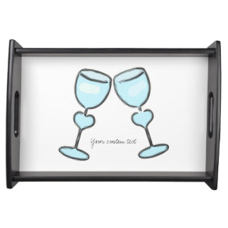 Two Heart Wine Glasses Bridal Shower Engagement Serving Tray