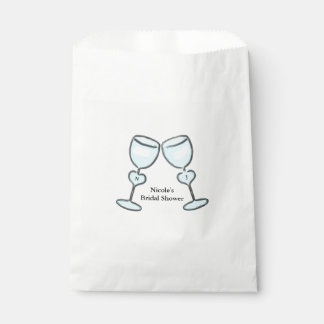 Two Heart Wine Glasses Bridal Shower Favor Treat Favour Bags