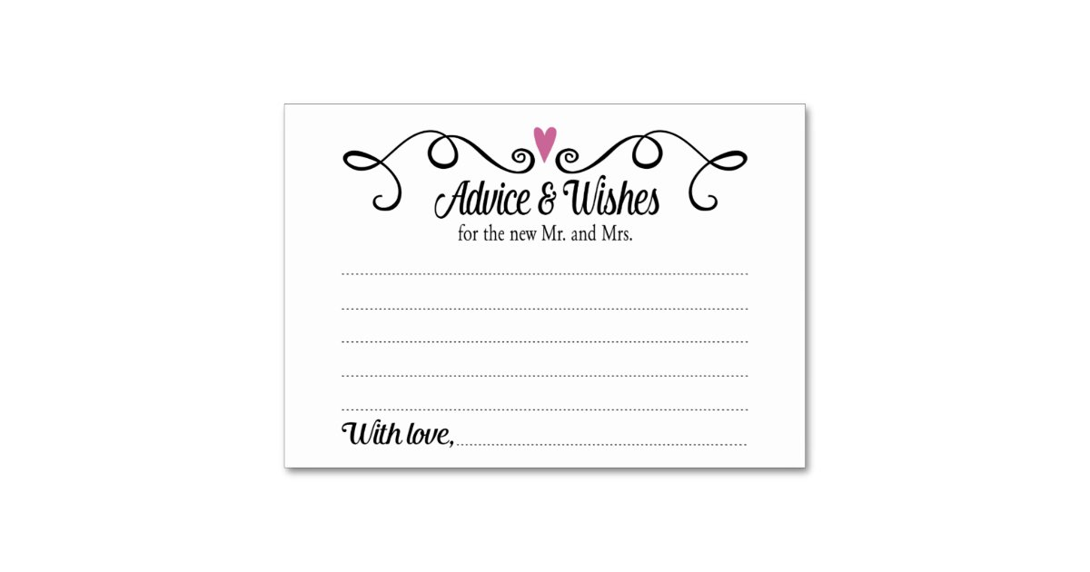 Two Hearts Advice And Wishes Wedding Card Zazzle