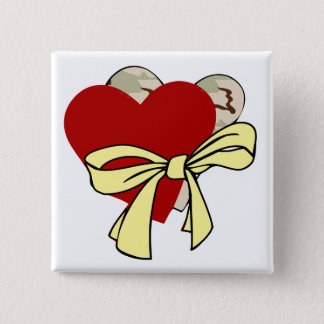 Two hearts and yellow ribbon 15 cm square badge