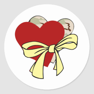 Two hearts and yellow ribbon classic round sticker