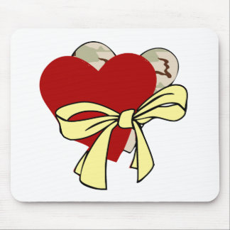 Two hearts and yellow ribbon mouse pad