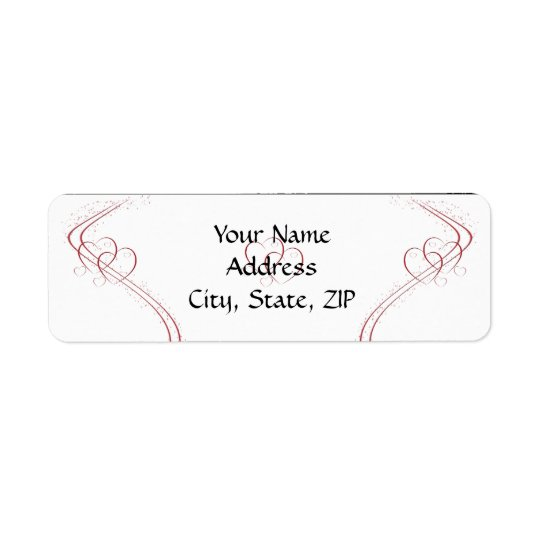 Two Hearts as One in Red and White Return Address Label