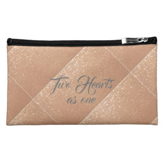 Two Hearts as one Rose Gold Makeup Bag
