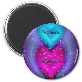 """""""Two Hearts Beat As One""""* 6 Cm Round Magnet"""