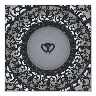 Two Hearts Black Sequin Look 13 Cm X 13 Cm Square Invitation Card