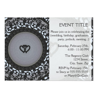 Two Hearts Black Sequin Look 13 Cm X 18 Cm Invitation Card