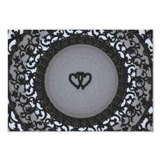 Two Hearts Black Sequin Look 9 Cm X 13 Cm Invitation Card