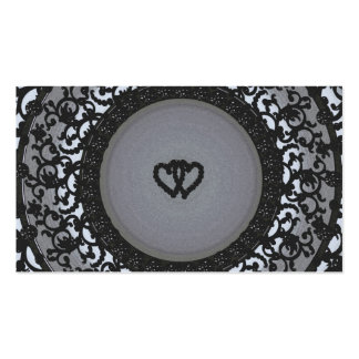 Two Hearts Black Sequin Look Pack Of Standard Business Cards