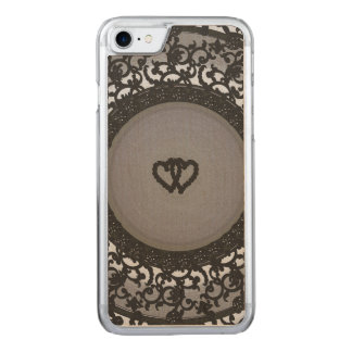 Two Hearts Black Sequin Look Carved iPhone 7 Case