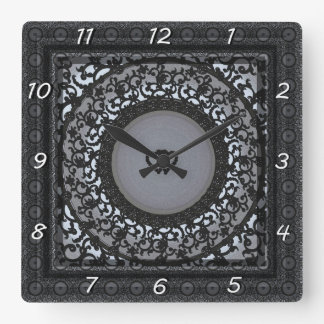 Two Hearts Black Sequin Look Clocks
