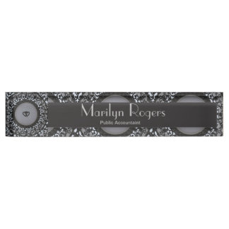 Two Hearts Black Sequin Look Desk Name Plates