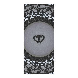 Two Hearts Black Sequin Look 10 Cm X 24 Cm Invitation Card