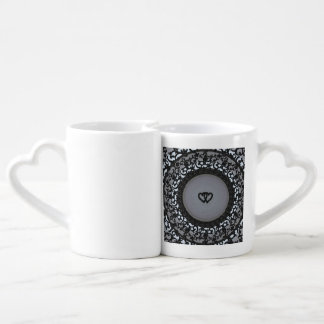 Two Hearts Black Sequin Look Lovers Mug