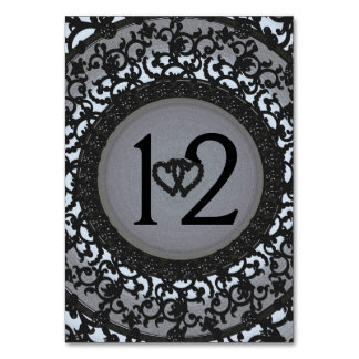 Two Hearts Black Sequin Look Table Card