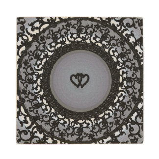 Two Hearts Black Sequin Look Wood Coaster
