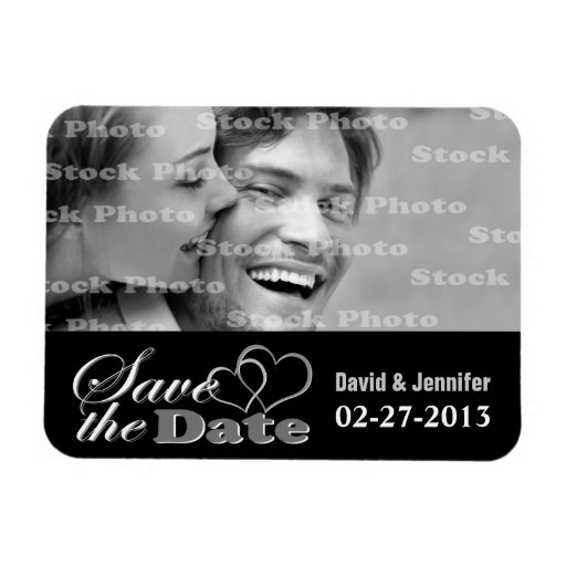 Two Hearts Black & White Save the Date Photo Flexible Magnet