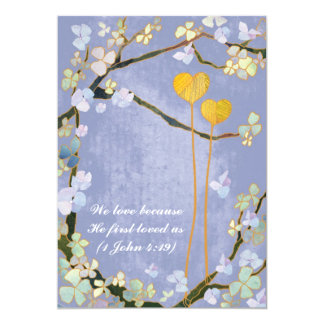 Two Hearts Blue Lyrical Floral Wedding Invitation Announcement