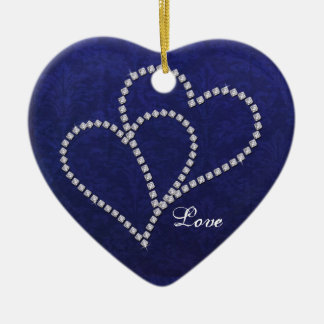 Two Hearts Bonded - Faux Diamond - Ornament