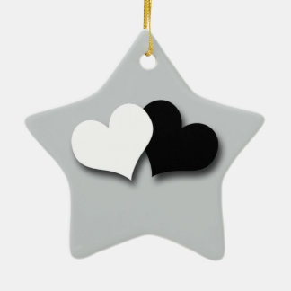 Two Hearts Ceramic Star Decoration