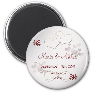 Two hearts forever refrigerator magnets