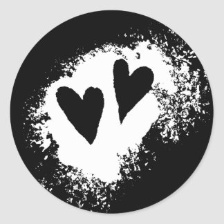 Two hearts grungy modern love stain stickers