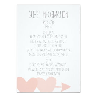 Two Hearts Guest Information 11 Cm X 16 Cm Invitation Card