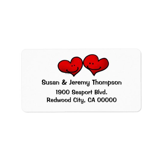 Two hearts in love address label