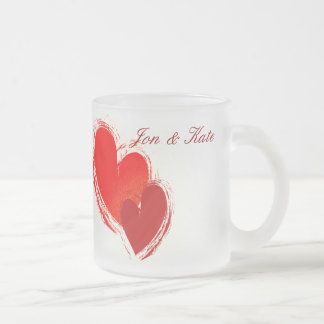 Two hearts in love frosted glass coffee mug