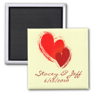 Two hearts in love square magnet