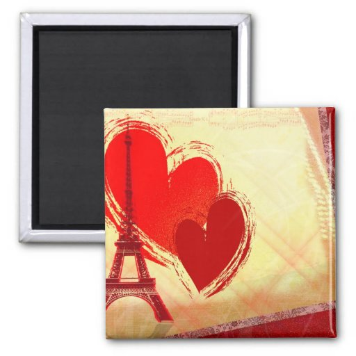 Two hearts in Paris Magnets