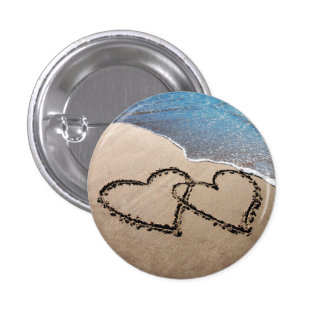 Two Hearts In The Sand 3 Cm Round Badge