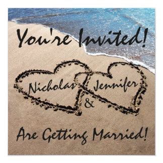Two Hearts In The Sand Beach Wedding Invitation