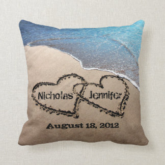 Two Hearts In The Sand Beach Wedding Pillow Throw Cushion