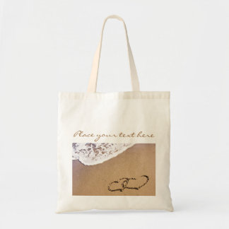 Two Hearts In The Sand Budget Tote Bag