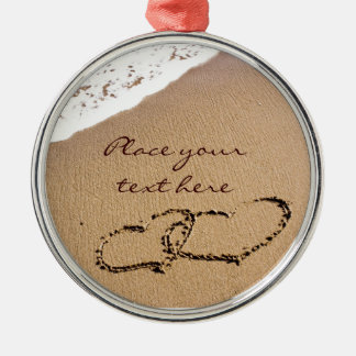 Two Hearts In The Sand Christmas Ornament