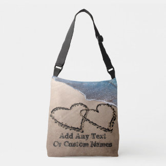 Two Hearts In The Sand Custom All Over Print Bag