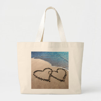 Two Hearts In The Sand Large Tote Bag