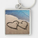 Two Hearts In The Sand Love Key Chain